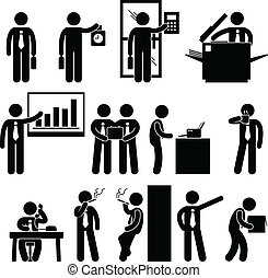 A set of pictograms representing the workplace scenario.
