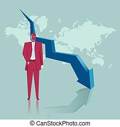 Business concept design, economic depression, world map. The background is blue.