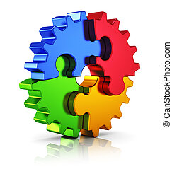 Business creativity, teamwork, partnership and success concept: metal gear from color puzzle pieces isolated on white background with reflection effect