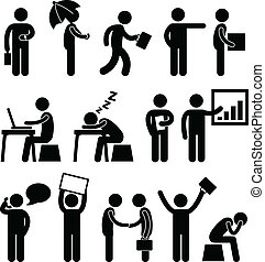 A set of pictogram showing people at work.
