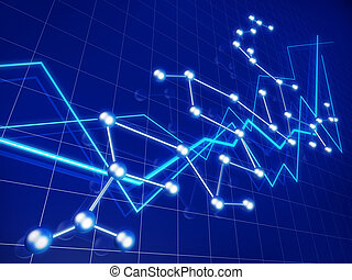 Business financial graph growth and network concept