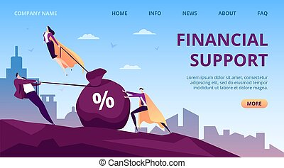 Business financial support by people hero, flat super leader person vector illustration. Successful help for man work, executive leadership
