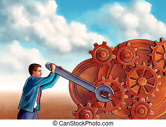 Businessman fixing some gearwork. Digital illustration.