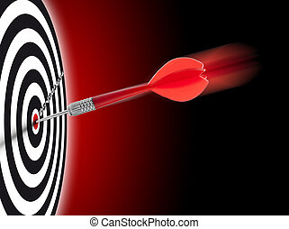 one dart hit it's target on a red background, concept for success