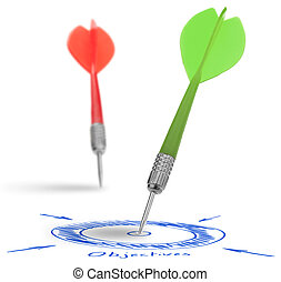 two darts on a white background, concept for success and reach a target, one dart reach it's target