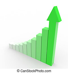 Business graph with going up green arrow. Computer generated image.
