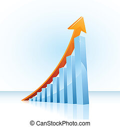 glossy vector bar graph showing continuous growth