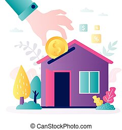 Business hand puts coin in house. Saving money for real estate investing. Investment concept. Buying a property, capital increase.