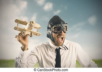 Concept of business in action with toy airplane