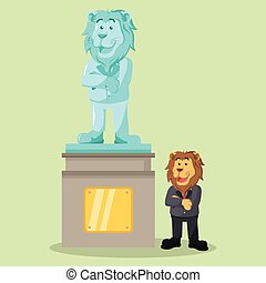 business lion proud for his own statue