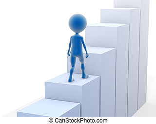 Business man climbing stairs. 3d rendered illustration.