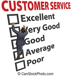 Business man climbs up a 3D CUSTOMER SERVICE form to increase his client satisfaction rating
