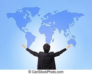 Business man hug global map