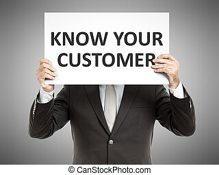 A business man holding a paper in front of his face with the text know your customer