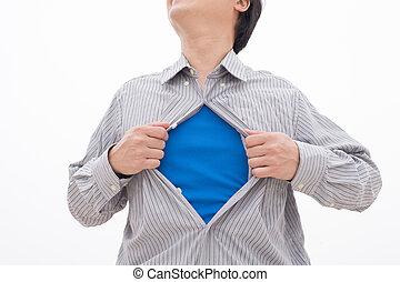 Business man pulling t-shirt open