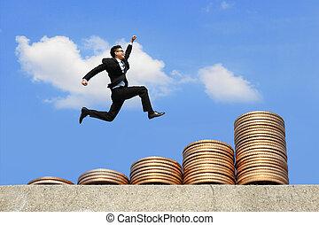 business man run on money