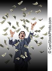 business man under falling money banknotes screaming reaching fo