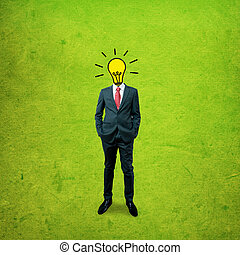 Business man with bulb head on the screen background