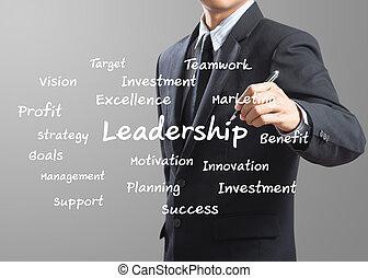 business man writing Leadership
