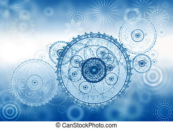 Business concept, abstract illustration of ancient mechanism, cogwheel, background