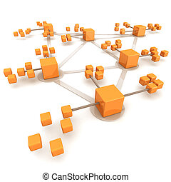 Business network or connection concept white background 3d illustration