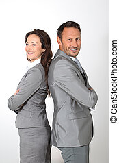 Business partners standing on white background
