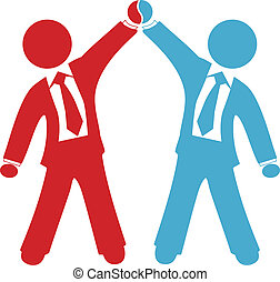 Business people celebration of collaboration deal agreement merger or partnership success