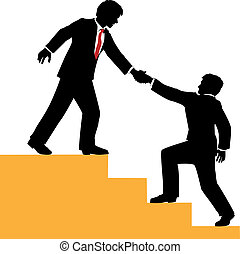 Business people help climb success