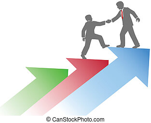 Business people helping team up success