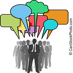 Business people network colorful talk bubbles