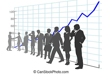 A team of Business People in front of Growth Chart