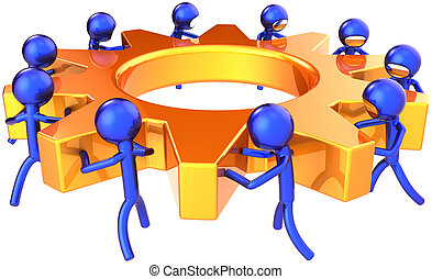 Teamwork business process. Company efficiency concept. Stylized blue shiny workers turning together an golden gear wheel. This is a detailed render 3D (Hi-Res). Isolated on white background