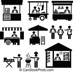 A set of pictogram representing marketplace, ships, and store.