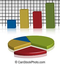 Illustration of business statistics in three dimensions.
