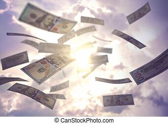 Business Success Raining US American Dollar