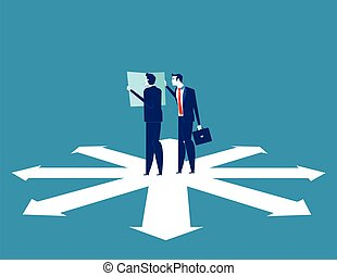 Business team are discussing on the direction to success. Concept business vector illustration.