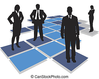 business people standing on tiles,