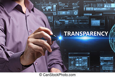 Business, Technology, Internet and network concept. Young businessman working on a virtual screen of the future and sees the inscription: Transparency