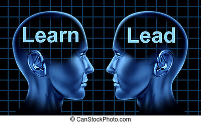 Business Training and Leadership for Education Learning Technology with to human heads facing each other.