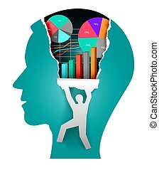 Business vision, paper head concept.