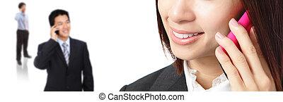 Business woman and man communication