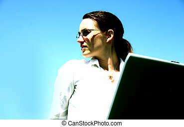 Business woman with laptop 3