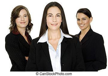 Three attractive well-dressed businesswomen on white background