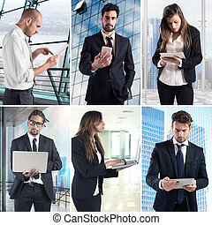 Business work with technology collage