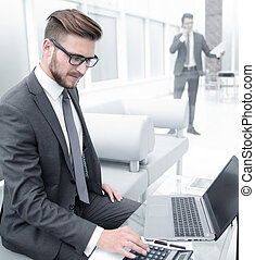 businessman analyzing the results of the financial transaction.