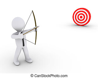 3d businessman as an archer is aiming at a red target