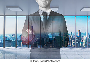 businessman crossed arms in large modern office with skyline view 3D Illustration