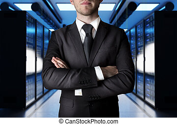 businessman crossed arms in modern data center with large server, 3D Illustration
