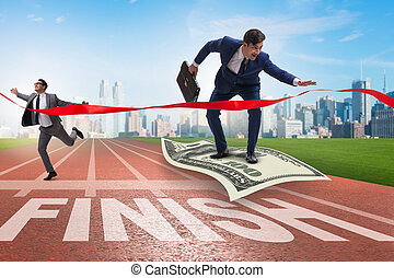 Businessman flying on dollar banknote towards finish line