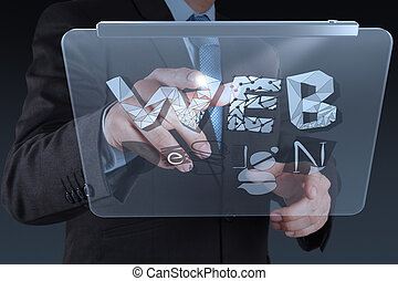 businessman hand working with tablet computer show WEB DESIGN word as concept
